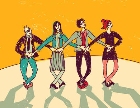 onstage: Business team dance presentation color. Group people dance onstage in suits. Color vector illustration.