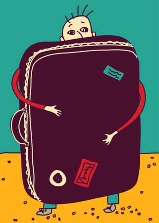 emigration: Emigration or travel man with suitcase color. Color vector illustration.  Illustration