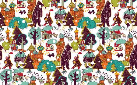 Rusland mensen en landschappen kleur naadloos patroon. Winterlandschap met happy Russen. Kleur vector illustratie. EPS8