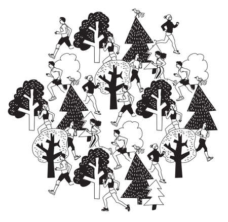 running woman: Sport people run in park black and white.  Group people run between trees. Monochrome vector illustration. EPS8