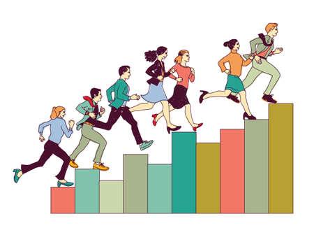 Business people run on graph diagram. Group people run forward.