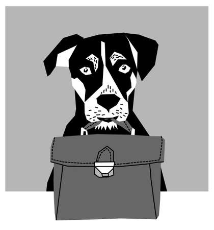 gray scale: Friendly dog with business case gray scale.