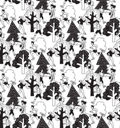 jogging in nature: People run in park health life black and white seamless pattern. Group people run between trees.