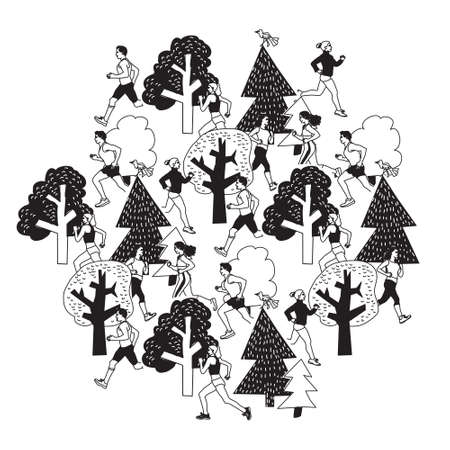 jogging park: People run outdoor black and white isolate on white. Group people run between trees. Black and white illustration.  Illustration