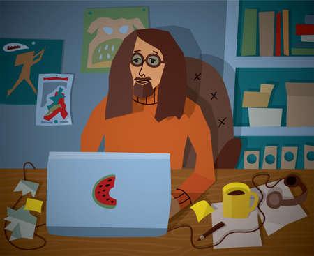 smart man: Profession designer work workplace notebook. Smart man working in the office.