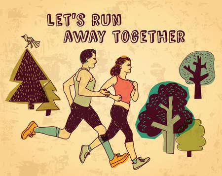 Corrida deporte pareja y carta de colores signo.