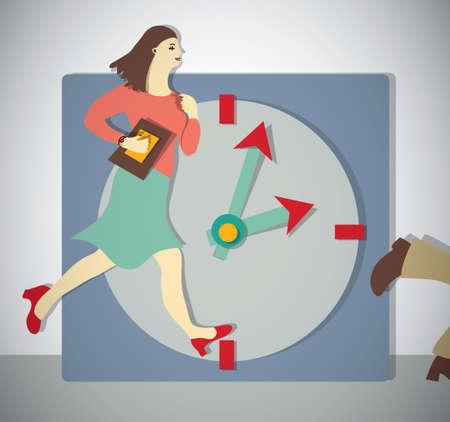 woman run: Time management business woman run.