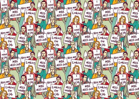 Big chômage du groupe des gens d'affaires colorent pattern. Banque d'images - 50660807