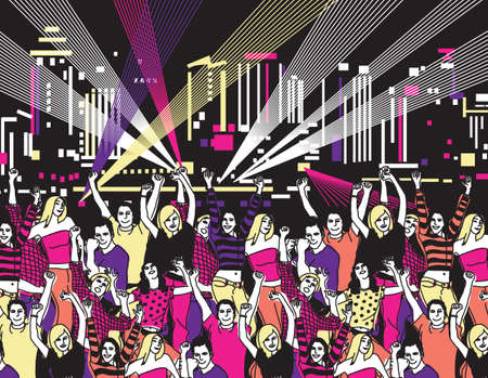 open air: Disco open air party crowd young people dance color. Color vector illustration.