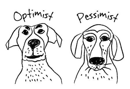 pessimist: Dog faces emotions optimism pessimism. Color vector illustration.  Illustration