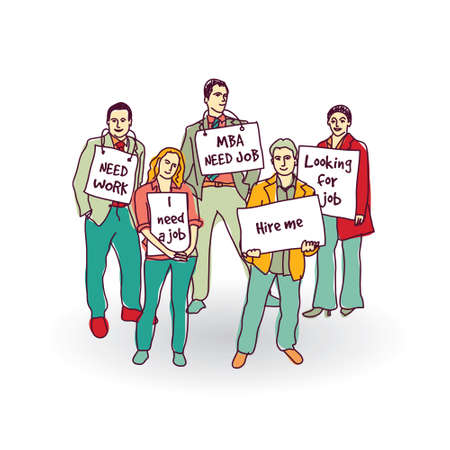 Group business people unemployed looking for job. Color vector illustration.  Vettoriali