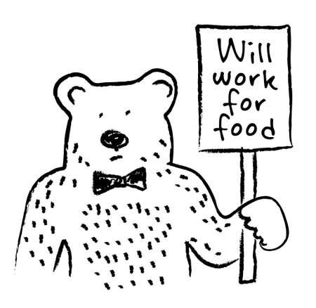 Ricerca di lavoro orso e segno piatto. Colore illustrazione vettoriale. Vettoriali