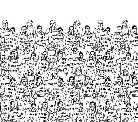 Unemployed jobless business people crowd top managers black and white. Monochrome vector illustration.