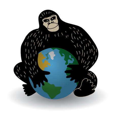 environmental policy: Gorilla with world crisis ecology or policy problem. Color vector illustration.
