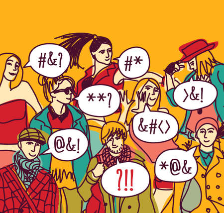misunderstanding: Foreigner foreign language misunderstanding people.  Color vector illustration.
