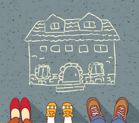 hypothec: Homeless family dreaming about own home mortgage hypothec.  Color vector illustration.