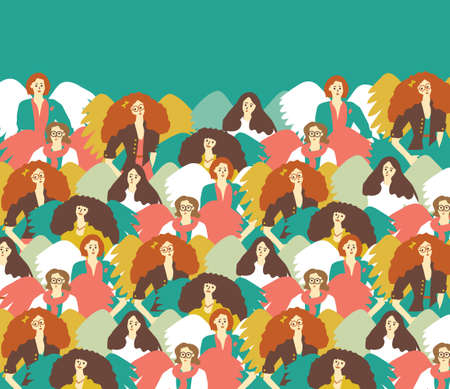 Muses creative group woman inspiration and sky. Color vector illustration.  일러스트
