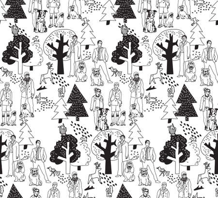 black people: People and pets walking in park black and white seamless pattern. Monochrome vector illustration.