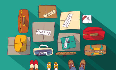 the passage: Moving passage luggage family things in boxes.  Color vector illustration.