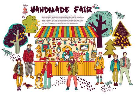 Arte hecho a mano juguetes de feria en el parque al aire libre. ilustración vectorial de color. EPS8
