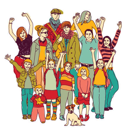 Big happy family group standing isolate on white. Color vector illustration. EPS8