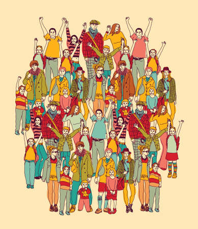 daughter mother: Big happy parents and kids people group color. Color vector illustration. EPS8 Illustration