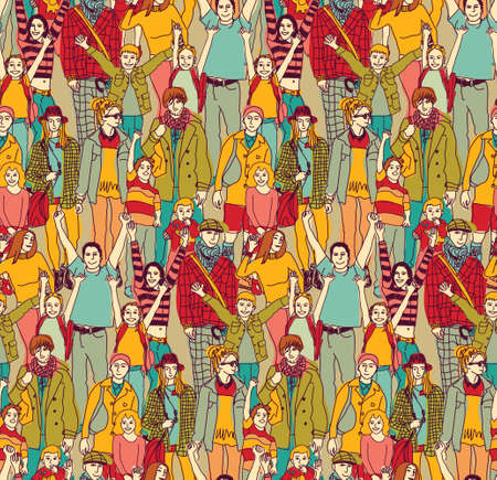 Happy family crowd parents people and kids color seamless pattern. Color vector illustration. EPS8  イラスト・ベクター素材
