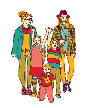 homosexual sex: Homosexual gay lesbian woman lgbt family couple and kids. Color vector illustration. EPS8