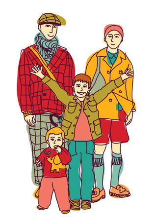 homosexual: Homosexual gay lgbt family couple and kids. Color vector illustration. EPS8