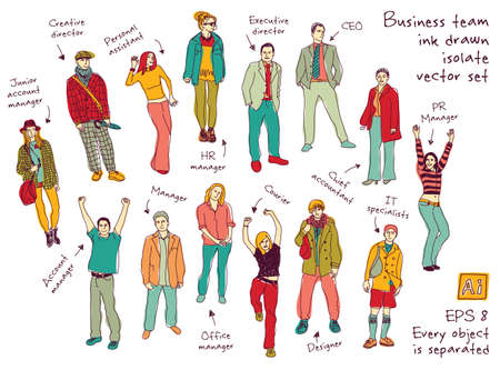 business figures: Business team posts and characters ink color isolate figures. Every object is separated. Color vector illustration. EPS8