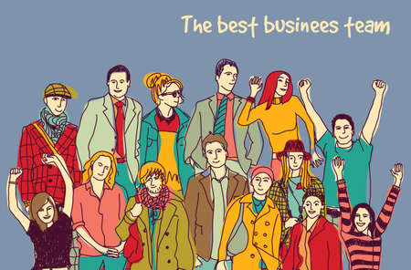 Best business team group happy color people. Color vector illustration. EPS8  イラスト・ベクター素材