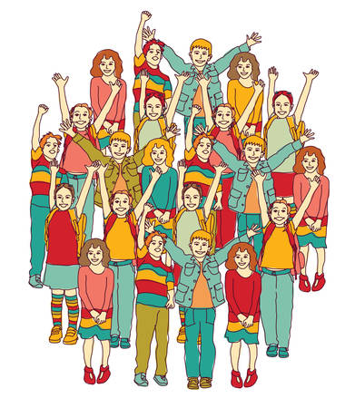 Big group of smiling happy children isolate on white. Color vector illustration. EPS8