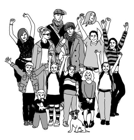 Big happy family group standing isolate black and white. Illustration