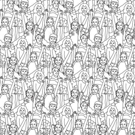 crowd happy people: Crowd happy children black and white seamless pattern. Monochrome vector illustration. EPS8