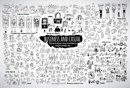 Big bundle business and casual doodles icons and objects. Black and white vector illustration. EPS8 Illustration
