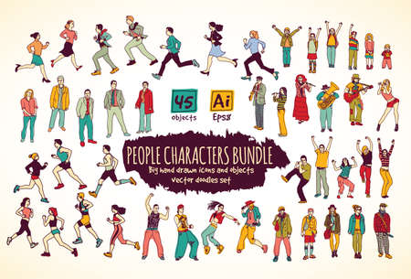 cartoon dance: Big bundle people characters doodles color icons. Color vector illustration. EPS8