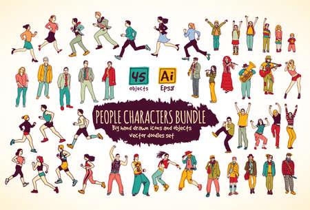 tanzen cartoon: Große Bündel Menschen Zeichen kritzelt Farbe Icons. Farbe Vektor-Illustration. EPS8