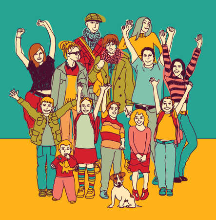 Grote gelukkige glimlachende familie staande groep kleur. Kleur vector illustratie. EPS8