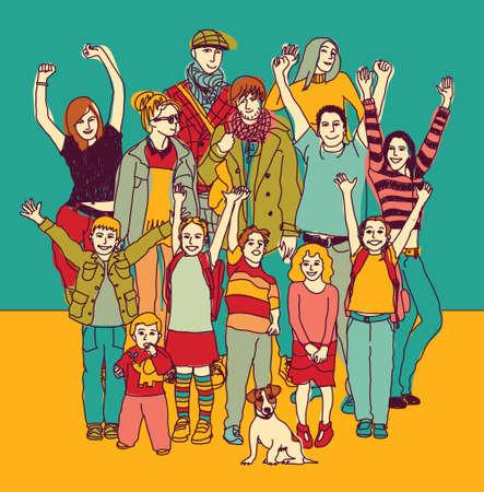 Gran sonrisa feliz de color de pie de grupo familiar. ilustración vectorial de color. EPS8