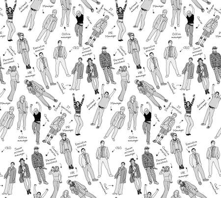 gray scale: Business company team people with post gray scale seamless pattern. Monochrome vector illustration. EPS8