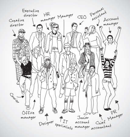corporate women: Business group team with signed posts black and  white happy people. Monochrome vector illustration. EPS8