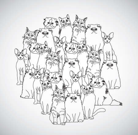 Group cats black and white isolate on white. Monochrome vector illustration. EPS8
