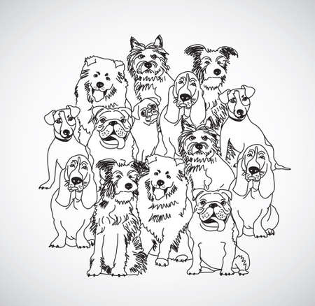 Group dogs black and white isolate. Black and white vector illustration. EPS8