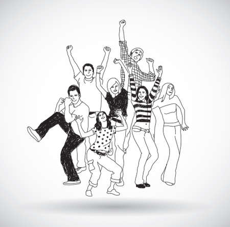 Group happy young people isolate black and white. Gray scale vector illustration. EPS10 Illustration