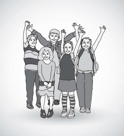gray scale: Group of happy children shadow gray scale. Black and white vector illustration. EPS8
