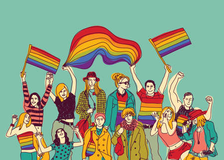 Lgbt happy meeting people group and sky. Color vector illustration. EPS8