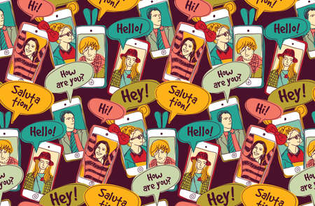 mobile phones: Mobile phones communication people color seamless pattern. Color vector illustration. EPS8