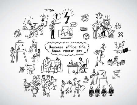 creative ideas: Office life black lines icons set business people. Black and white vector illustration. EPS8
