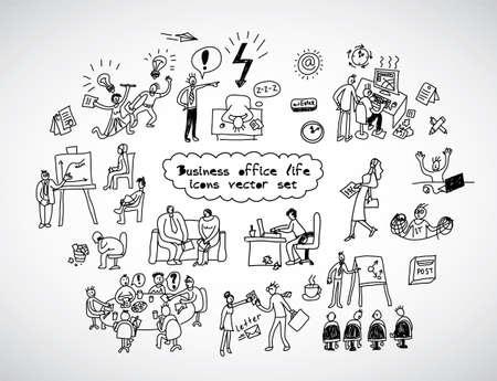 Vie Bureau lignes noires icons set gens d'affaires. Noir et blanc illustration vectorielle. EPS8 Banque d'images - 52177848