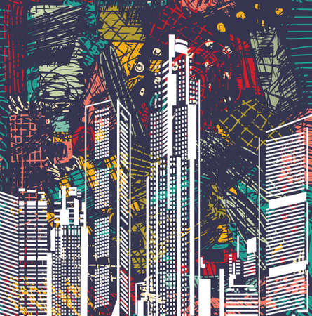 sky scraper: Art sky scraper abstract city view night landscape. Color vector illustration. EPS8